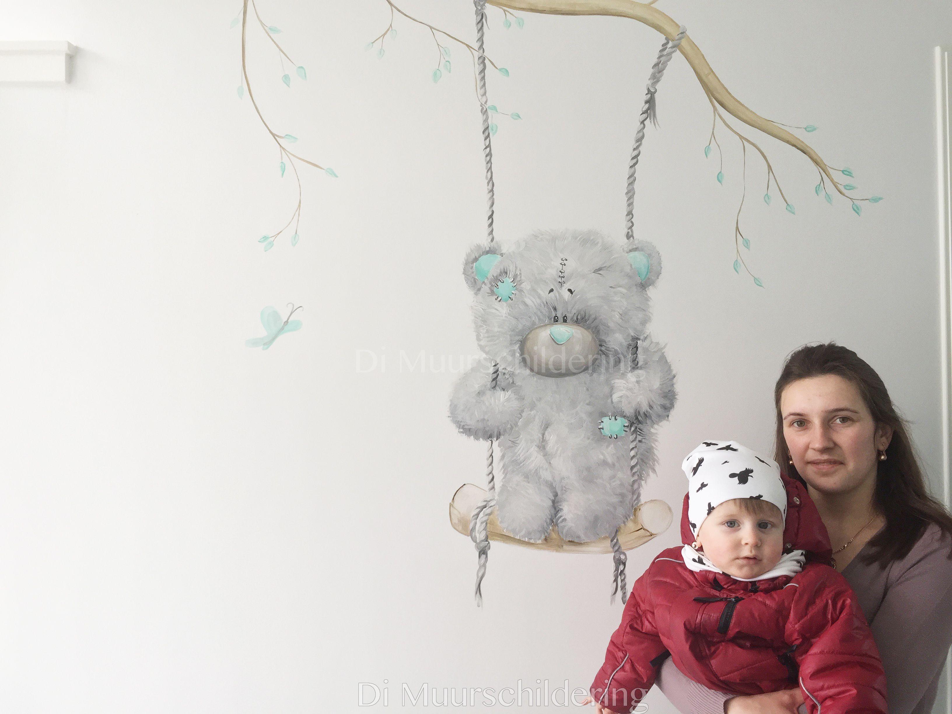 Schommel In Kinderkamer : Muurschildering voor kinderkamer beertje op schommel