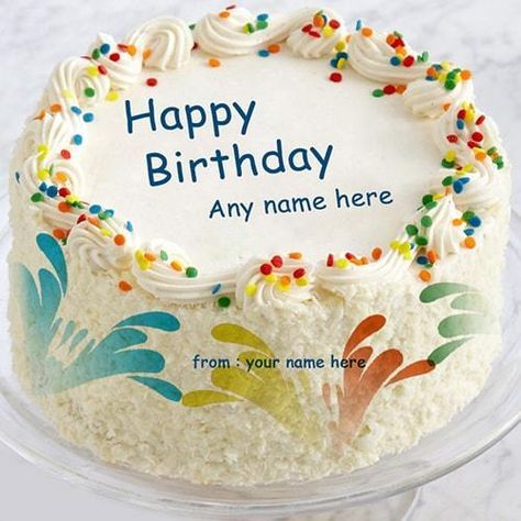 Write Your Name On Colorful Birthday Cake Greeting Cards Multi Color With Editor Design Generator