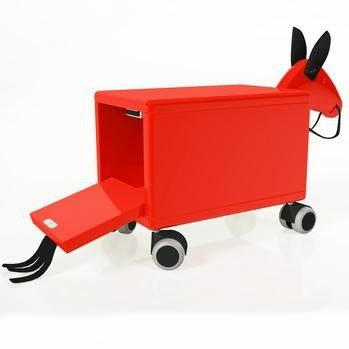 Leka is a new Swedish company that produces high quality children's furniture and accessories from the award winning designs of Evy Lindqvist Westerberg and Torbjörn Örgren from the 1950s and 1970s. The Leka trojan horse is a Swedish design classic and is represented in the permanent collection of the Modern Museum in Stockholm. This versatile wooden ride-on also doubles as a practical storage box with a drop down tail for hiding away your child's favourite toys and books.