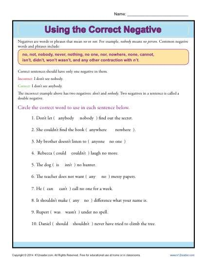 Using The Correct Negative Worksheets Sentences And Students