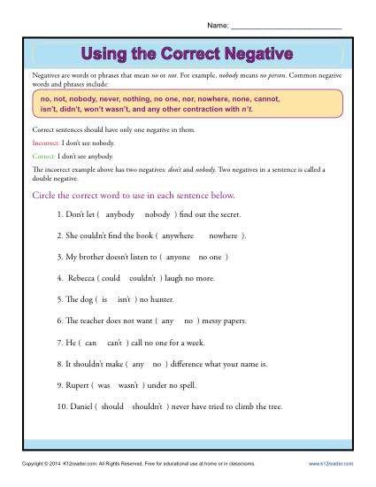 All Worksheets » Double Negative Worksheets - Printable Worksheets ...