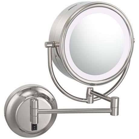 """Polished Nickel 9"""" Wide LED Hardwire Vanity Mirror -"""