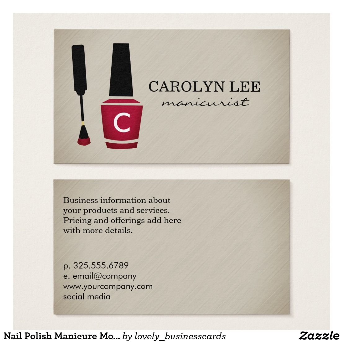 Nail Polish Manicure Monogram Business Card | Business cards ...