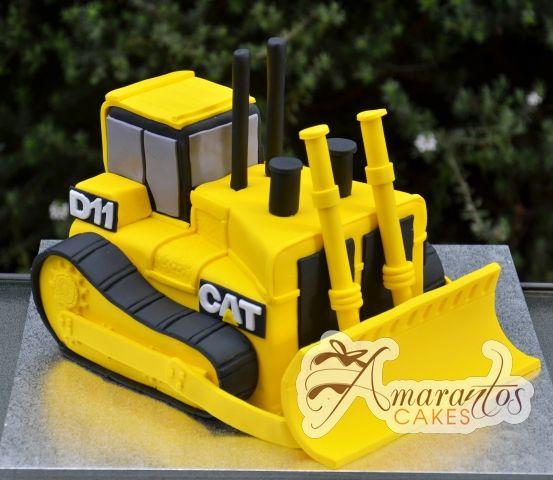 Cat bulldozer cake dorty zdoben pinterest cat for Digger cake template