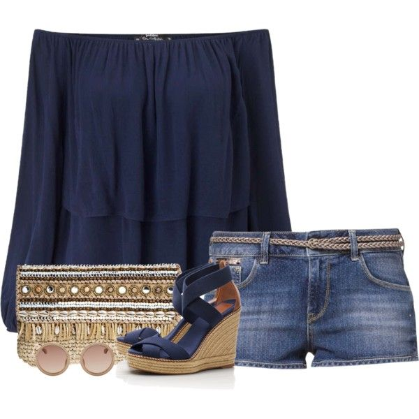 A fashion look from June 2016 featuring Miss Selfridge tops, GUESS shorts and Tory Burch sandals. Browse and shop related looks.