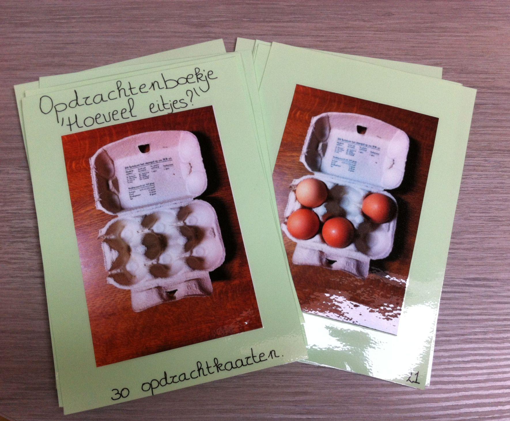 Opdrachtenboekje met 30 verschillende opdrachten. Elk kaartje bevat een andere combinatie. De kleuters doen dit na met plastiek eitjes.