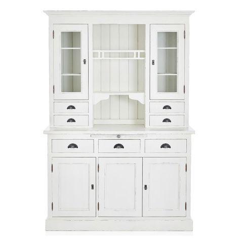 Vitrinenschrank, Schubladen, Glastüren, rustikal, Kiefernholz - küchenschrank mit glastüren