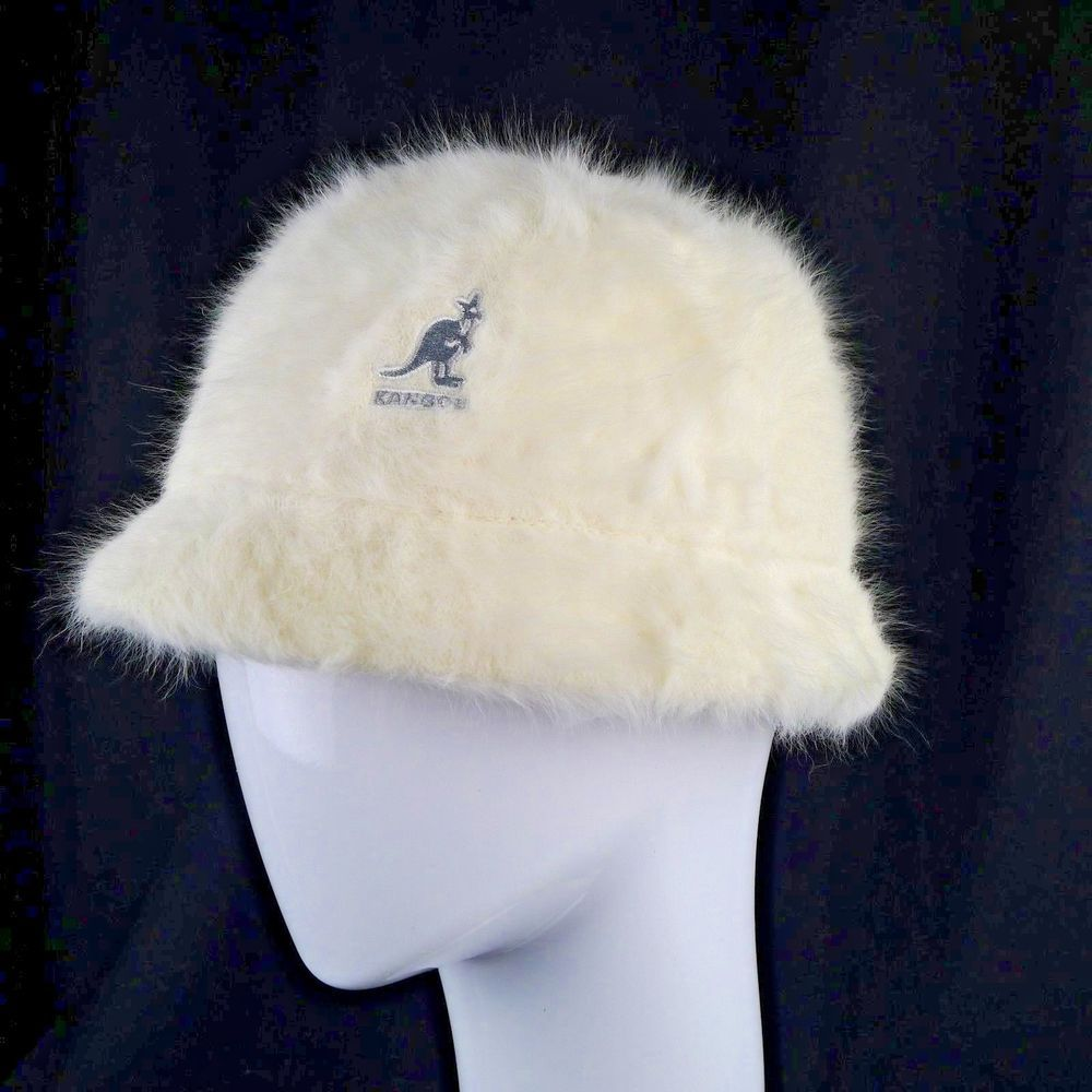 c012aef1354 Ladies Kangol Furgora Bucket Hat Soft White Grey Logo New With Tag Medium   Kangol  Bucket