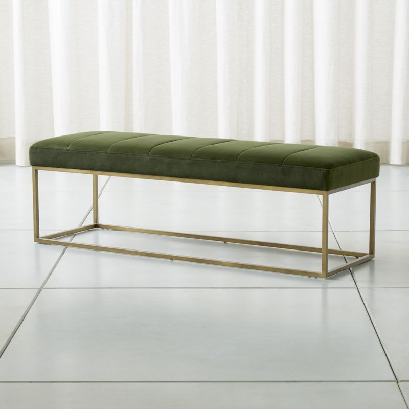 Strange Channel Dark Green Velvet Bench Ottomans Pouf Benches Machost Co Dining Chair Design Ideas Machostcouk