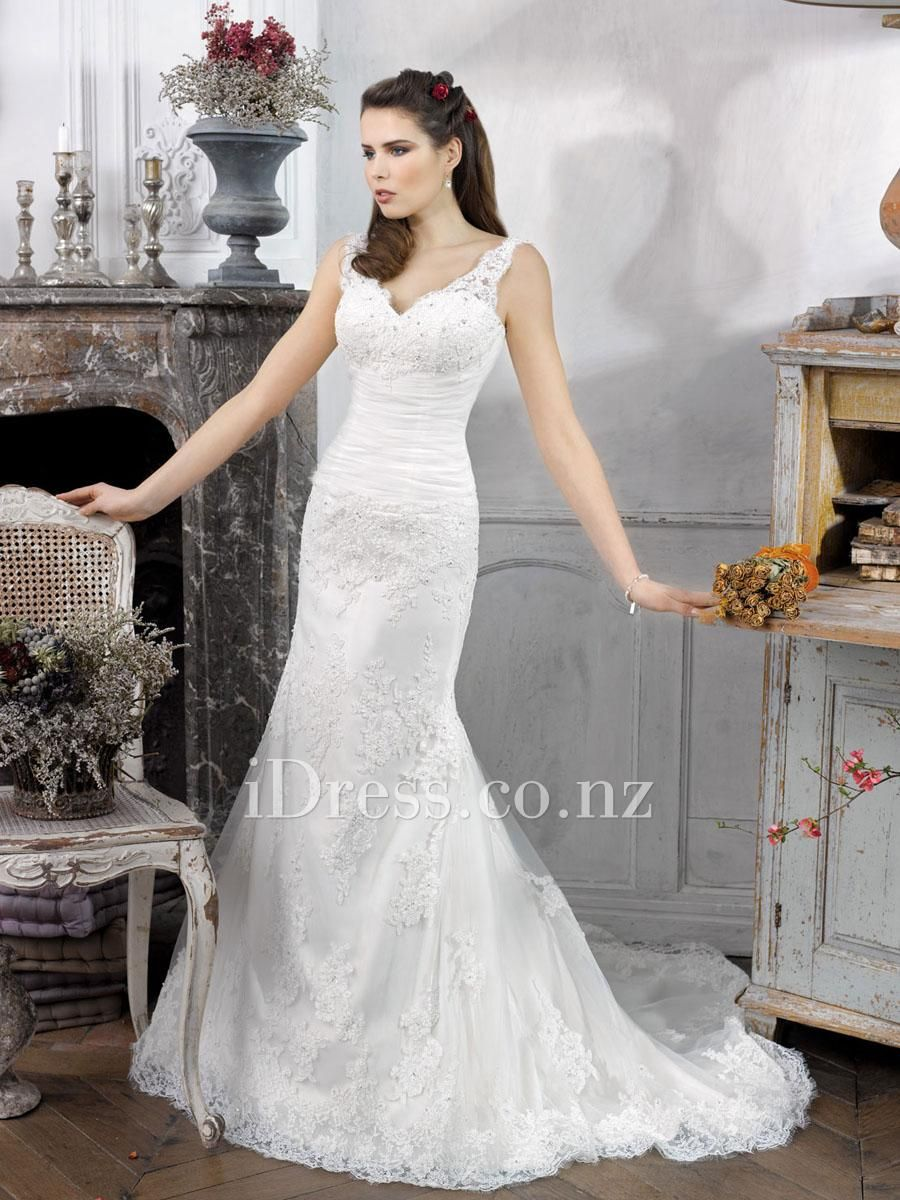 lace overlay trumpet sleeveless v-neck straps wedding dress from idress.co.nz