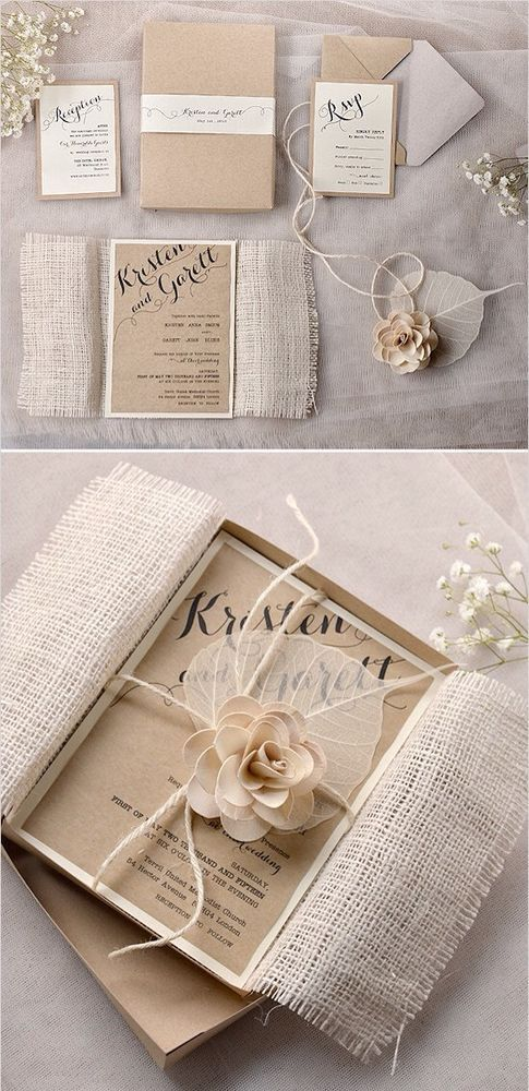 Vintage Shabby Chic Wedding Invitation In Box | Vintage shabby chic ...
