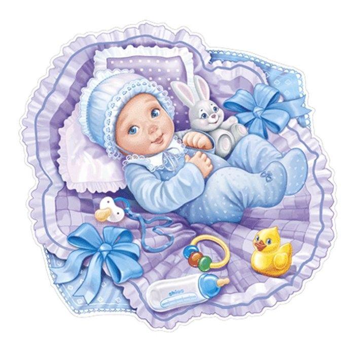 Новорожденный ребенок на открытке