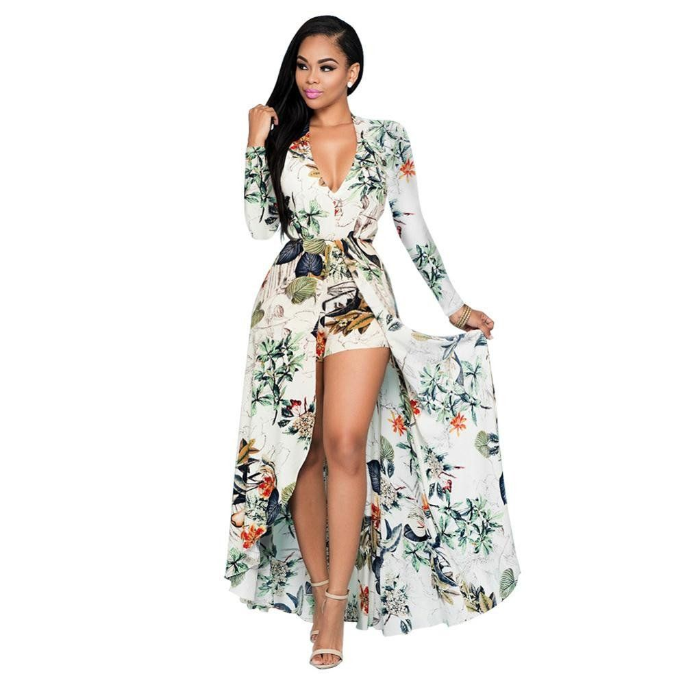 2017 Carinival Knee-Length Long Sleeve WHITE Floral Printed Jumpsuits