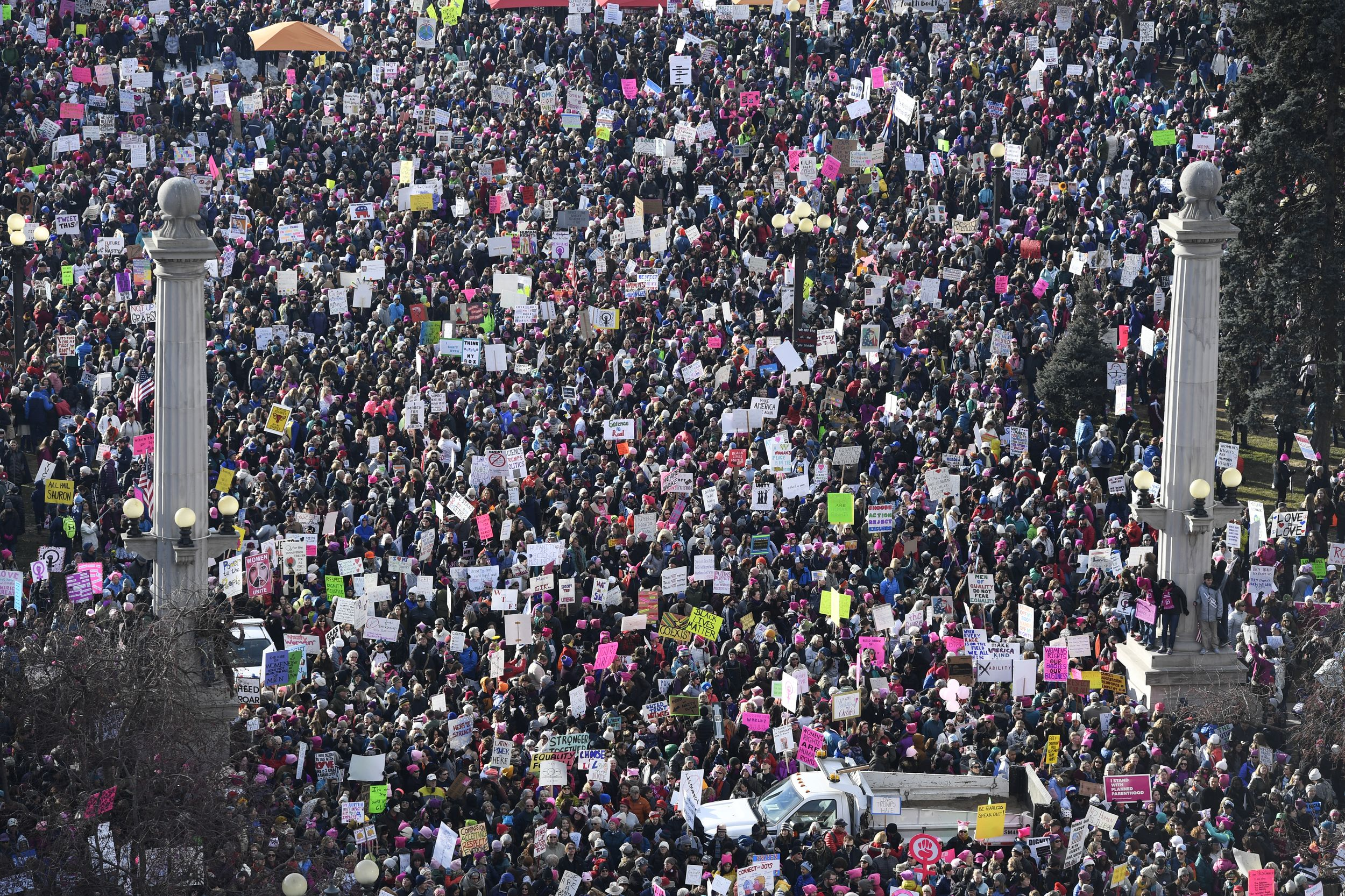 Denver Co January 21 Thousands Of Protesters At Civic Center Park For The Women S March On Denver Januar Womens March International Women S Day Mexico City