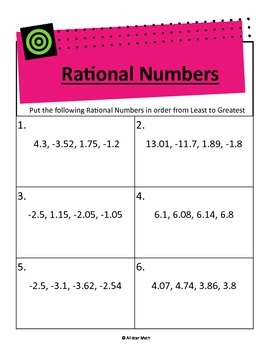 Compare Order Rational Numbers Decimals Rational Numbers