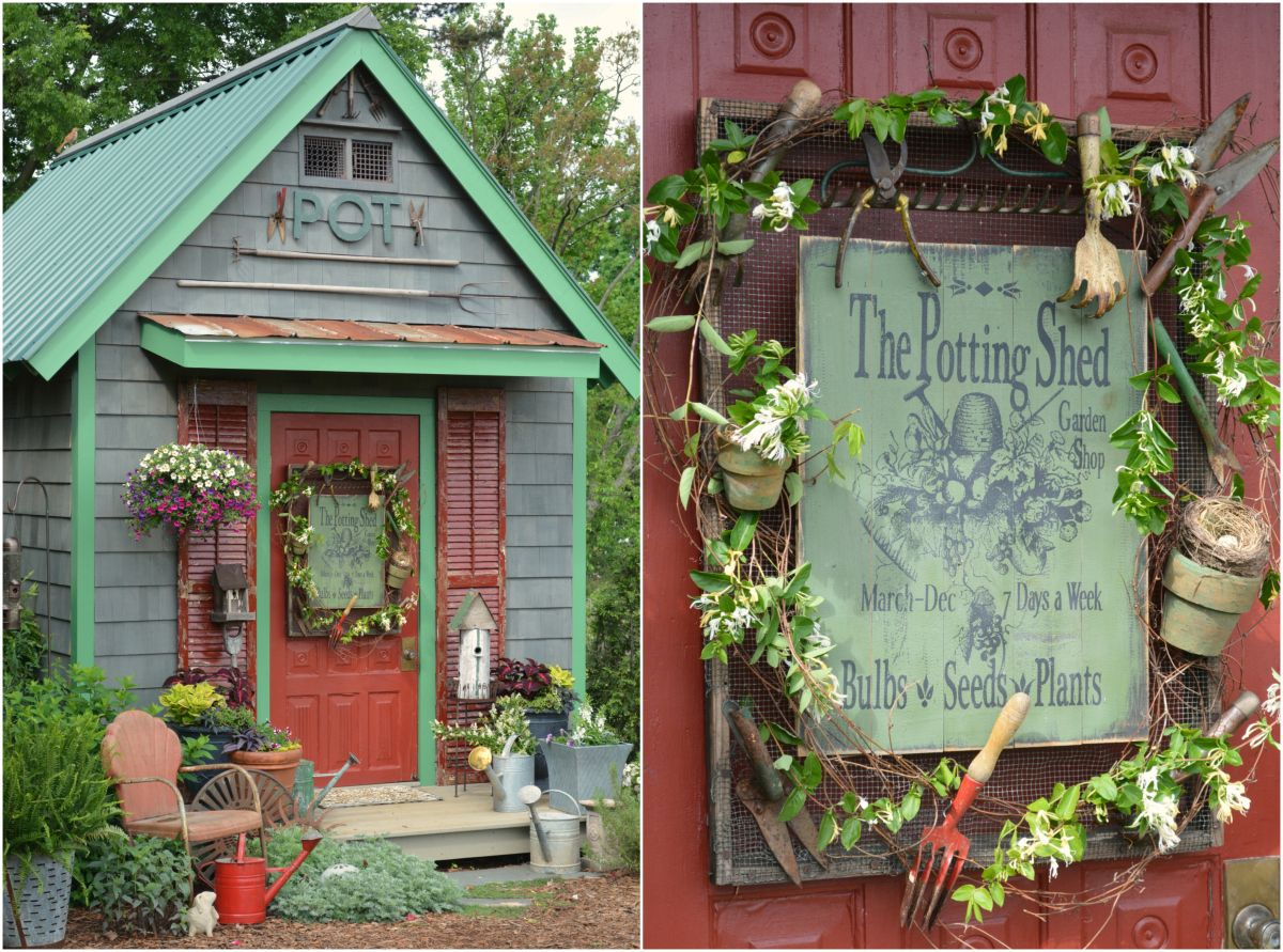 Potting Shed Sign On Door With Vintage Garden Tools, Pots, Grapevine And  Honeysuckle |