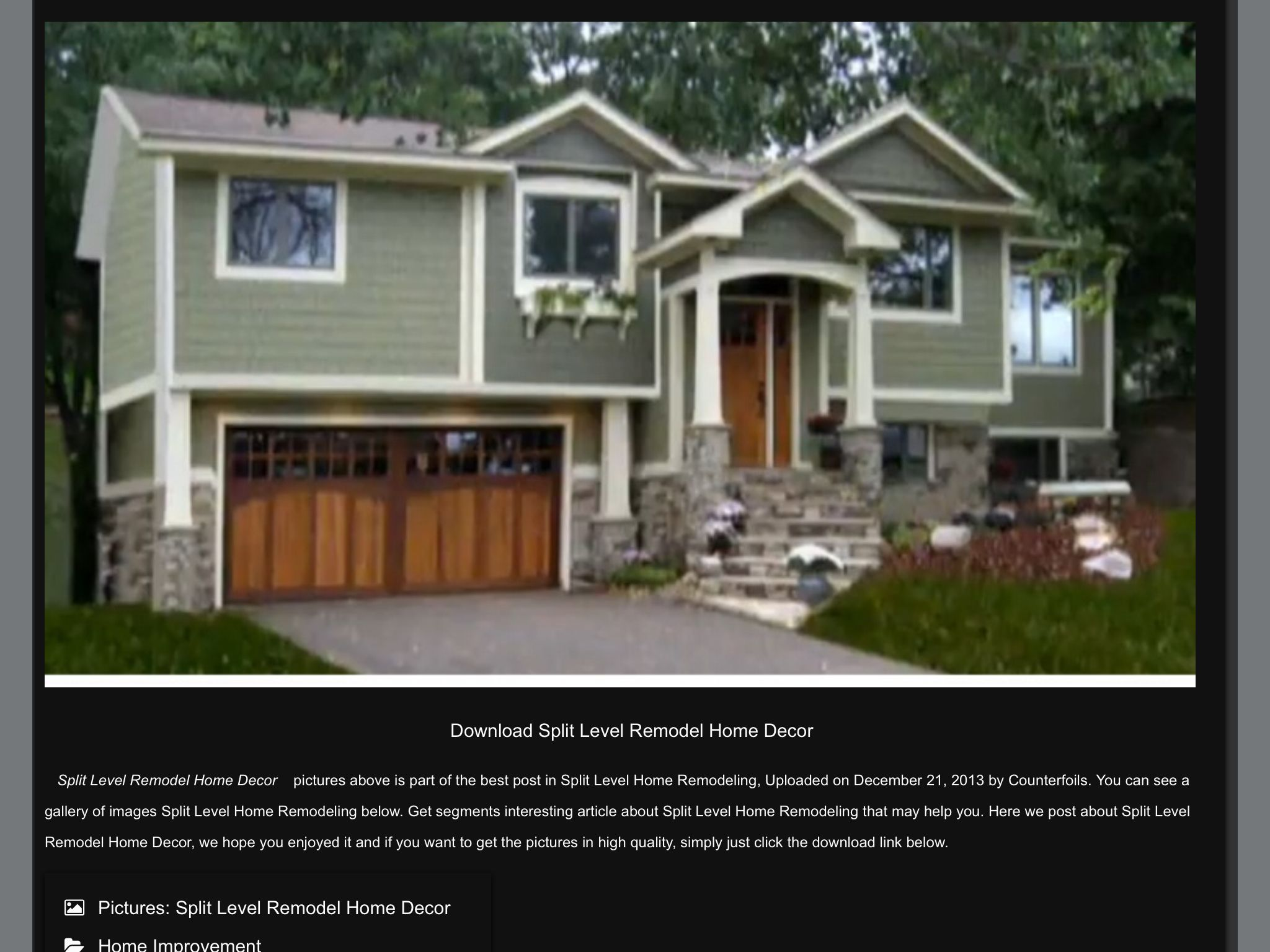 Here S A Great Example Of An Update To A Long Faced Split Level The Color And Texture Of The Garage Door A Split Entry Remodel Exterior Remodel Ranch Remodel