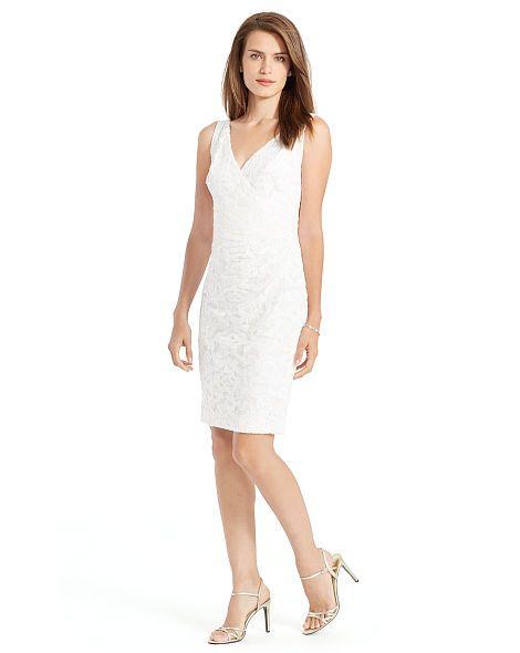b0988a704f64 Sequined-Lace Surplice Dress - Lauren Evening Dresses - RalphLauren.com