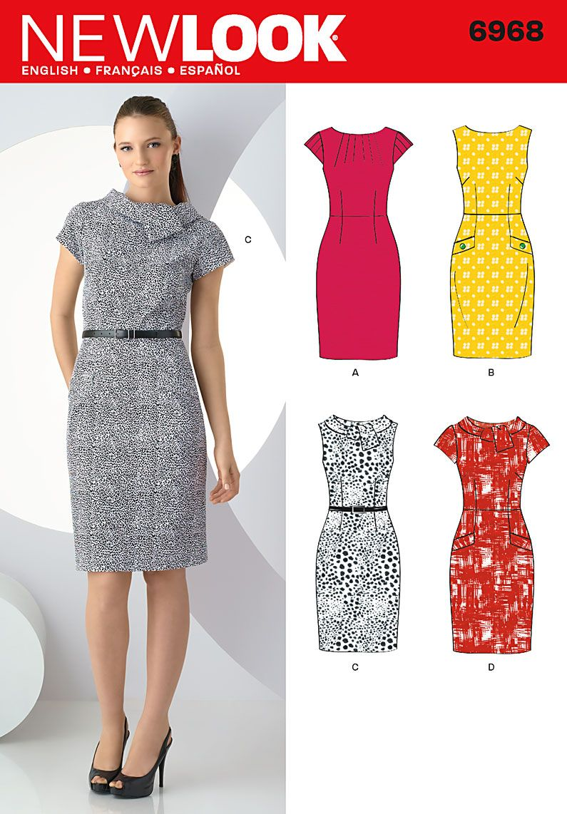 ad4006f8f0f04 New Look sewing pattern 6968: Misses Dresses size A (8-10-12-14-16-18)