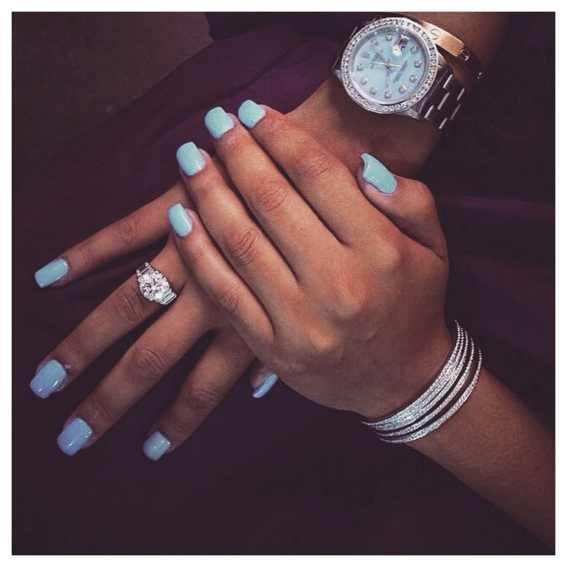 Blue acrylic nails double team dynamicpunch blue manicures