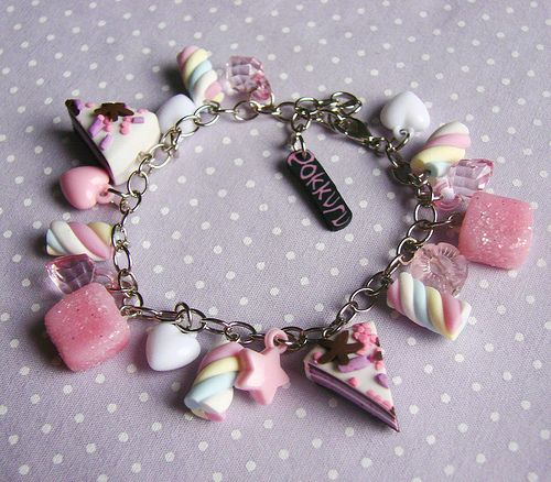 Polymer Clay Charm Bracelet: Over The Rainbow Marshmallow Candy Charm Bracelet