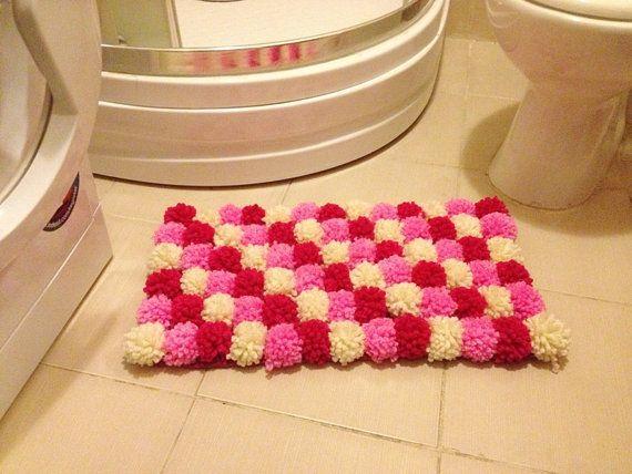 Pink Collorful Pom Poms Bath Mat, Bathroom Rug, Doormat, Pet Mat Favor  Shower Present Party