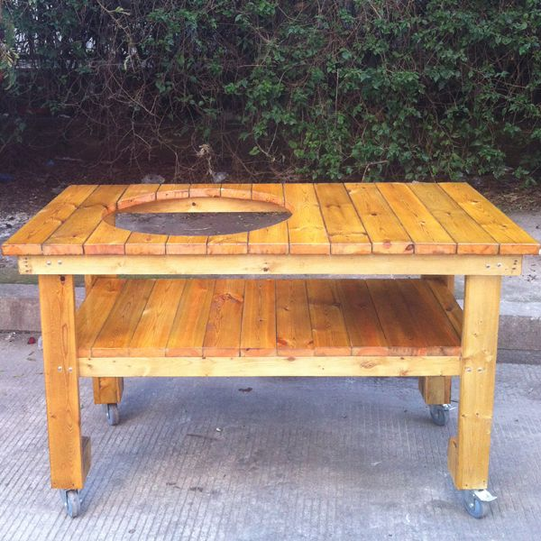 BBQ Wooden Table For The Kamado Grills With Trolley From China Auplex