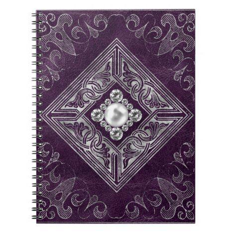 Ornate Opulence | Purple and Silver Jeweled Emblem Notebook