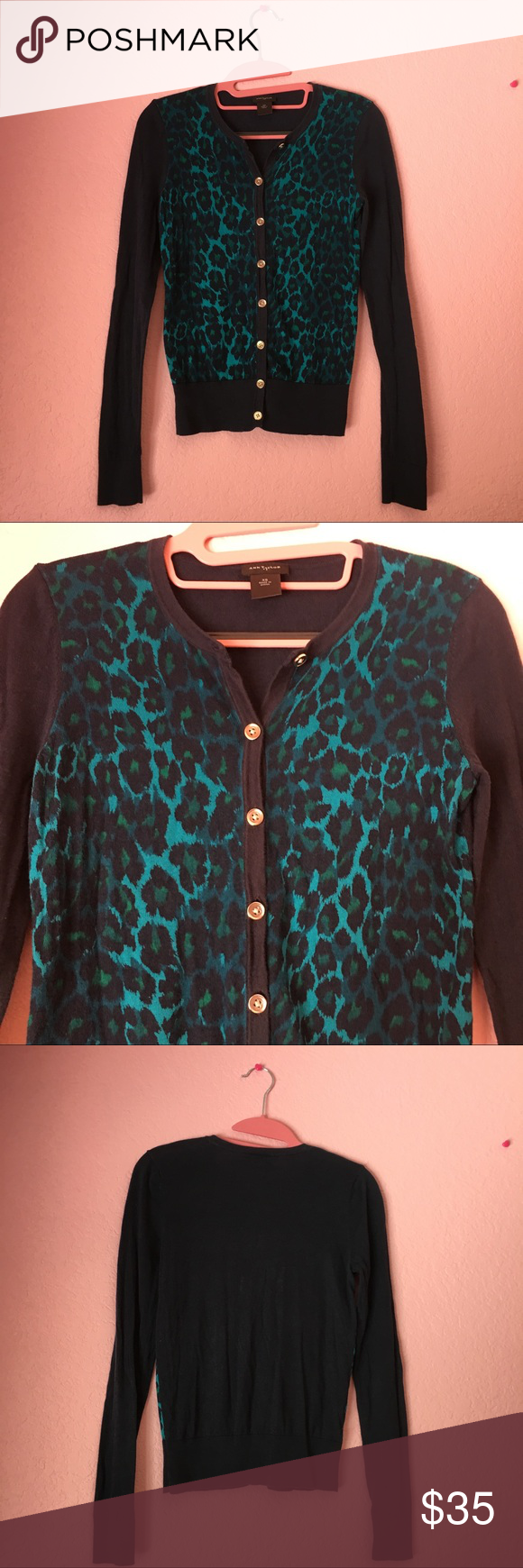 😍Ann Taylor blue leopard print cardigan 😍 | Sweater cardigan ...