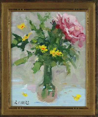 Robert Moore   Morning Flowers  Oil - 10 by 8 Inches  $800  trailsidegalleries.com #trailsidegalleries #mothersday #paintings #art #floral