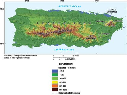 puerto rico geographical map Elevation Of Puerto Rico Showing Luquillo Webb Watersheds With Images Luquillo Puerto Rico Budget Programs puerto rico geographical map