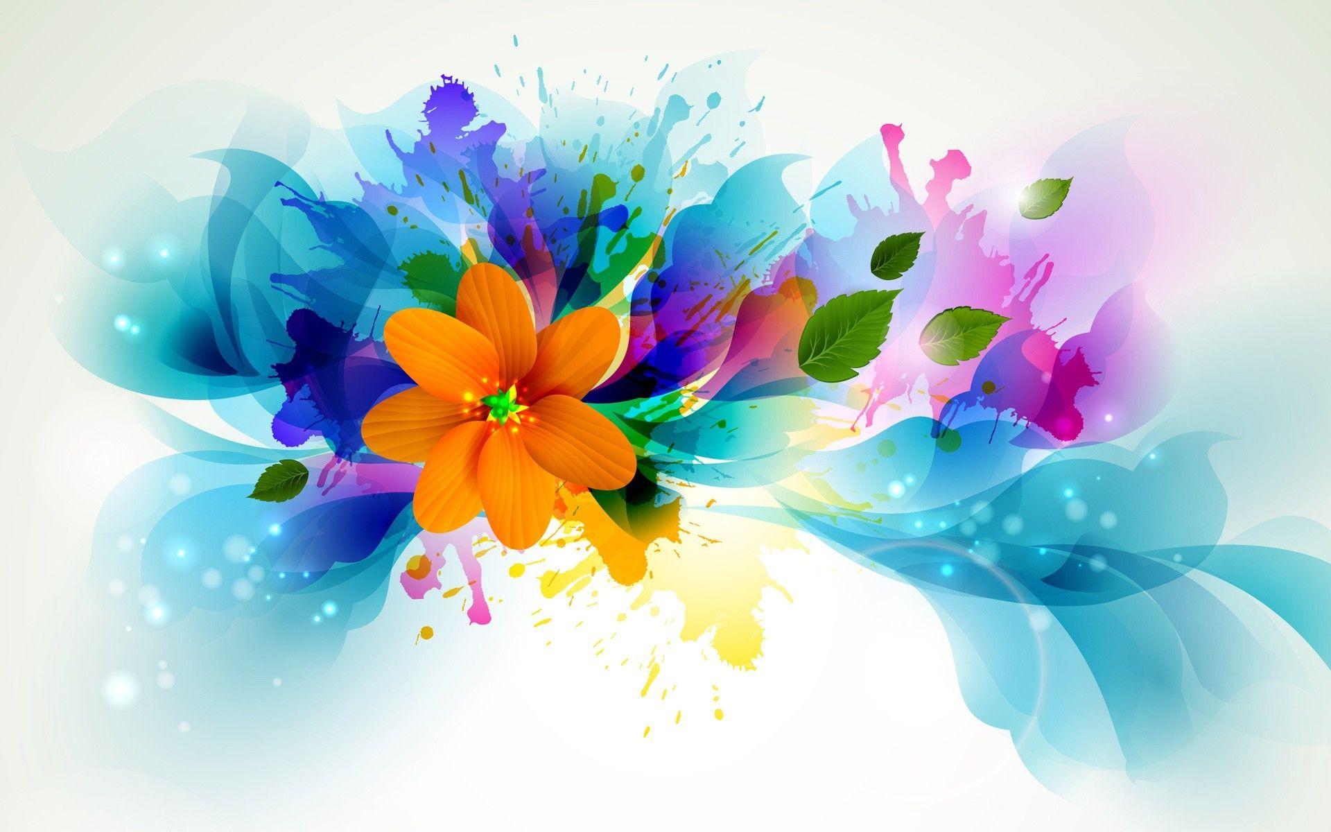 flowers, Artwork, Leaves, Paint Splatter Wallpapers HD