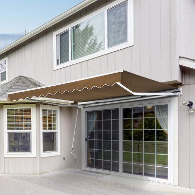 Outsunny 10 Ft Manual Retractable Patio Sun Shade Awning Pergola Plans Design Pergola Cost