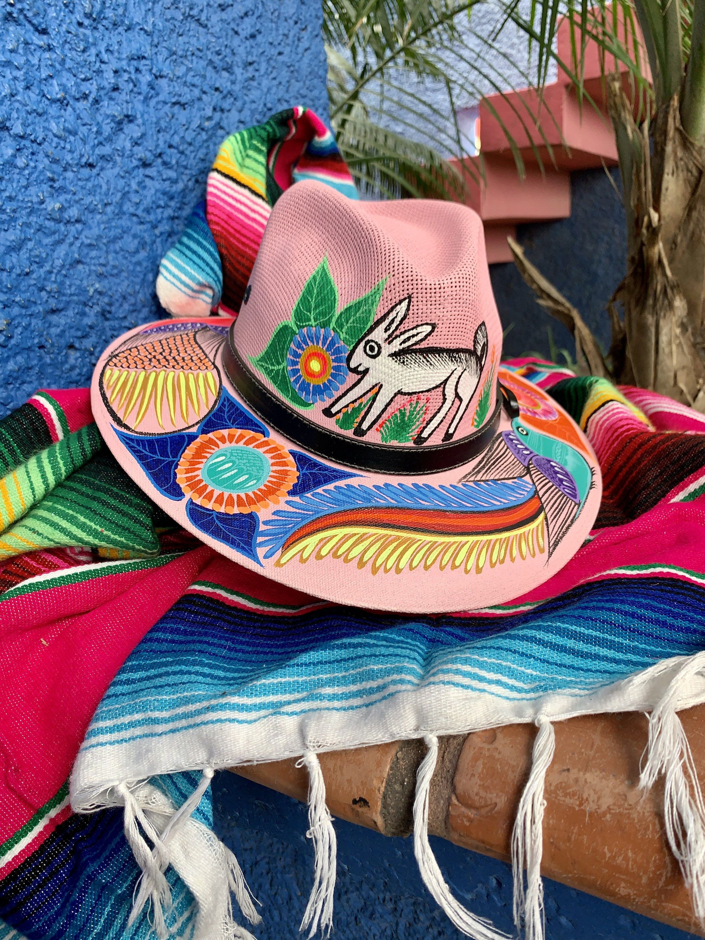 Hand Painted Mexican Hat Hand Painted Hat Mexican Sombrero Etsy Painted Hats Mexican Hat Mexican Designs