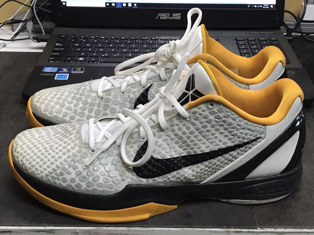 96ed033b458b NIKE Zoom Kobe 6 VI White Del Sol Gold Black Trainers Shoes Size  12 429659