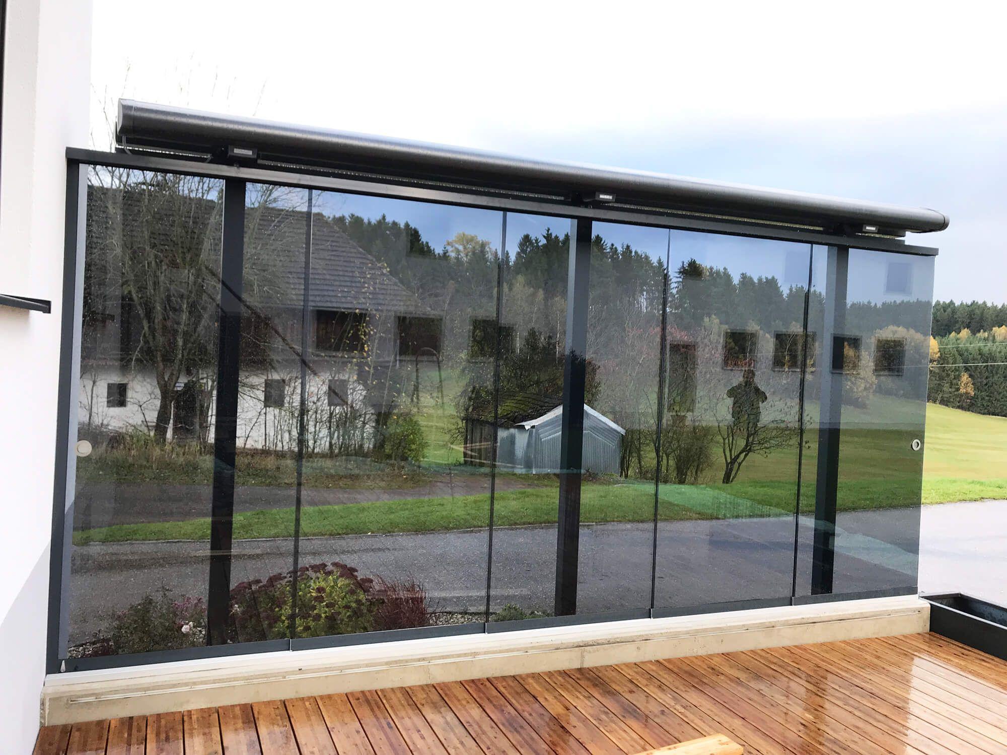 Windschutz Fur Terrasse Transparent Mit Glasschiebeturen