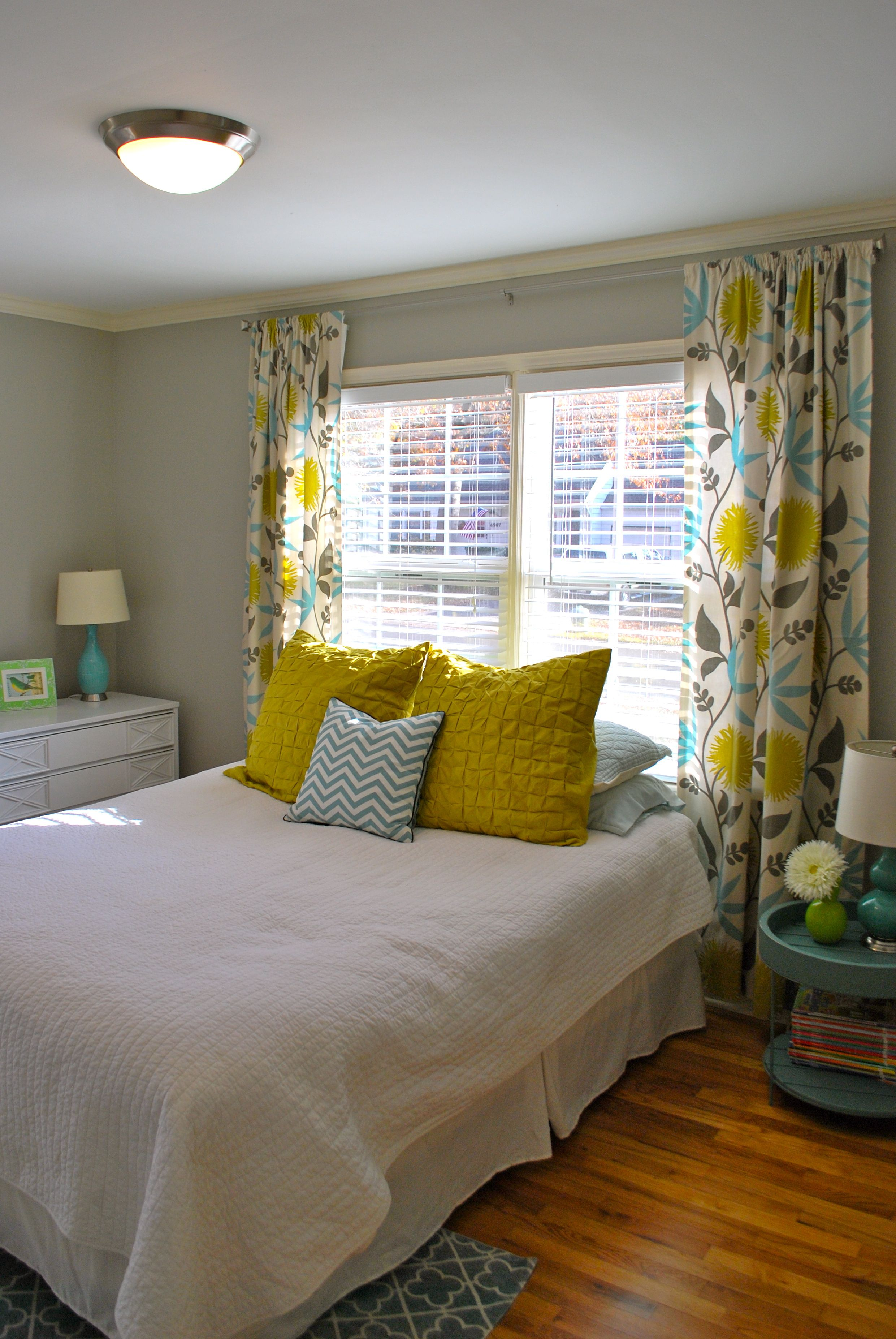 Bedroom ideas window behind bed  gray blue and yellowthe curtains anyone know where these can