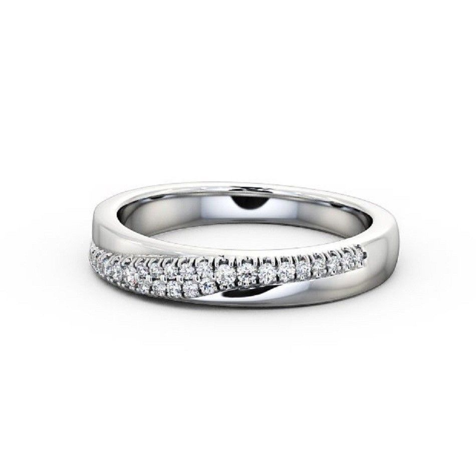 IGI Certified 0.15 Carat Round Diamond Pave Setting Curved Half Eternity Wedding Ring , 18k White Gold