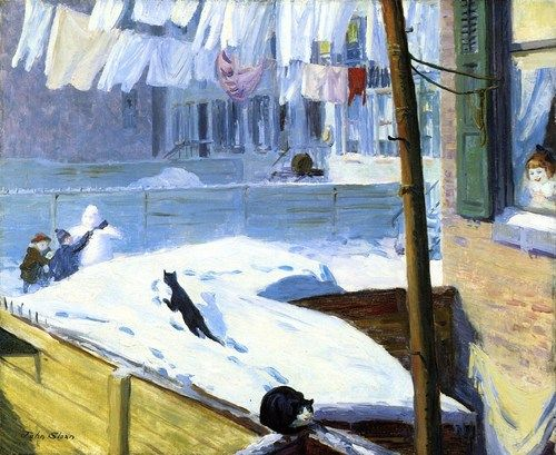 peira:    John Sloan: Backyards, Greenwich Village (1914) via Whitney Museum of American Art