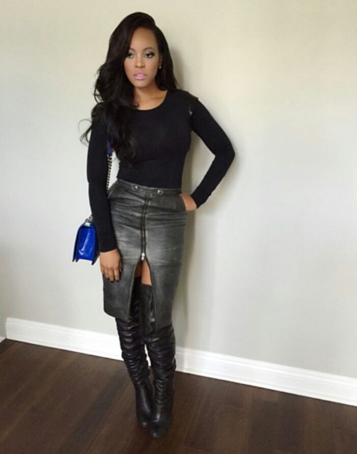 Celebrity Outfit of The Day: Malaysia Pargo in Front Zip Leather ...