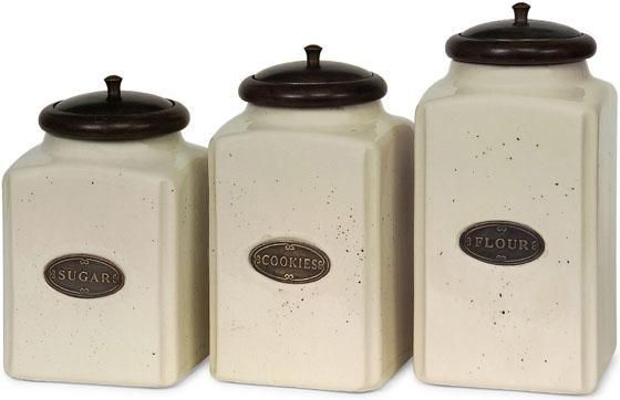 Ceramic Ivory Canisters - Set of 3 - Kitchen Decor - Home Decor | HomeDecorators.com
