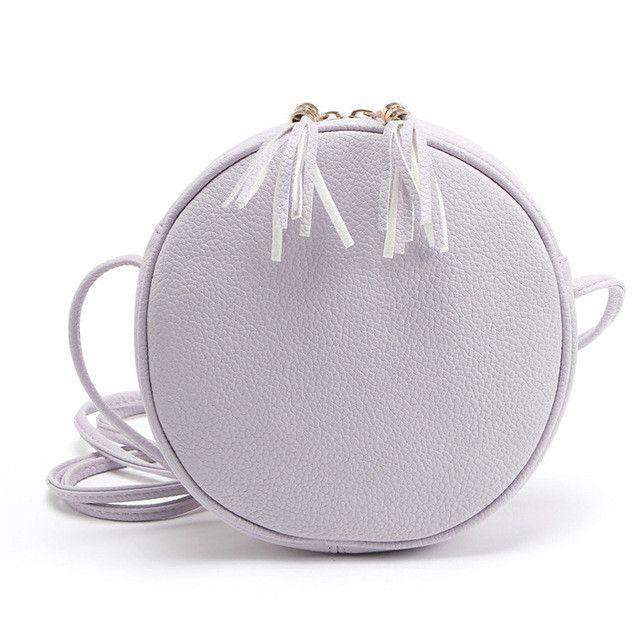 cbd8c8928635 Yogodlns Candy Colors Macarons Biscuit women bags round girls messenger bag  Circular leather crossbody bags tassel lady handbags