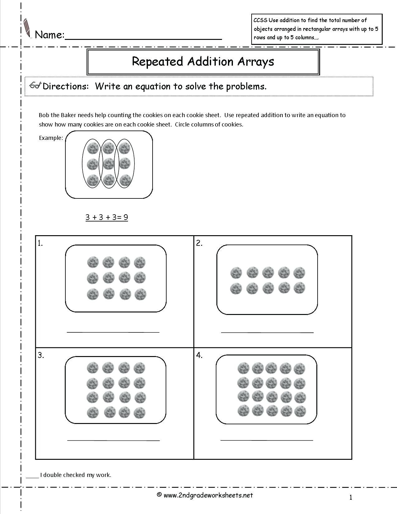4 Free Math Worksheets Second Grade 2 Addition Add 4 2 Digit Numbers In  Columns math w…   Array worksheets [ 1650 x 1275 Pixel ]