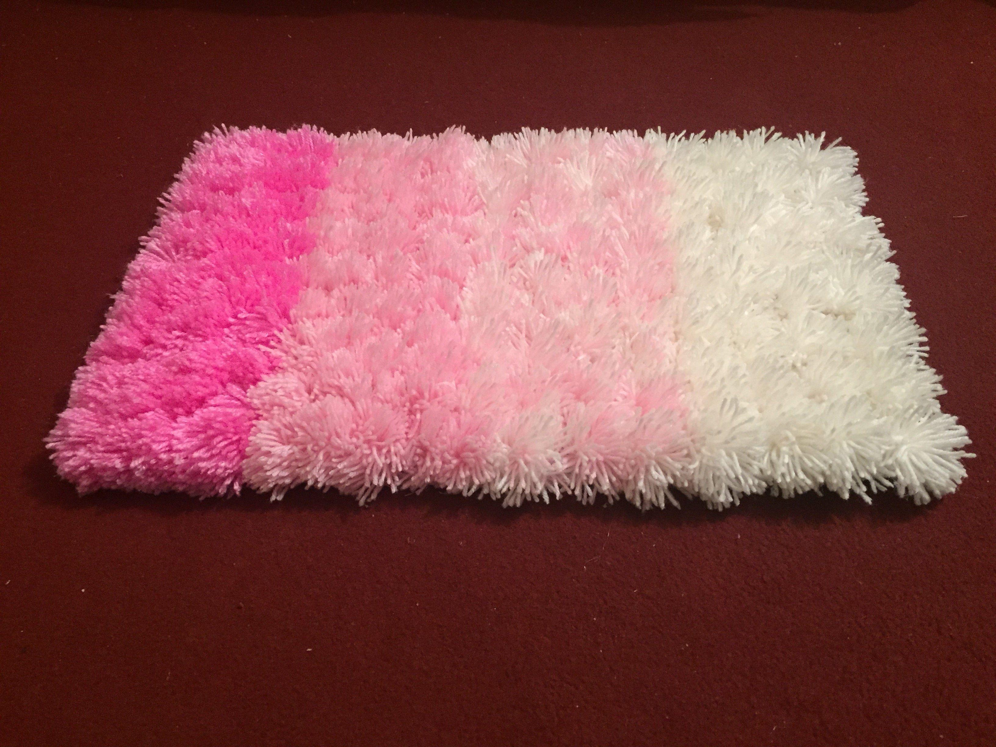 Pink Pompom Rug Crshimlawoolenclothes