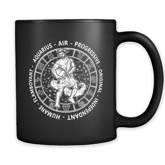 Aquarius Zodiac Mug Black By Prosperousjewels On Etsy Mugs Unique Items Products Gifts