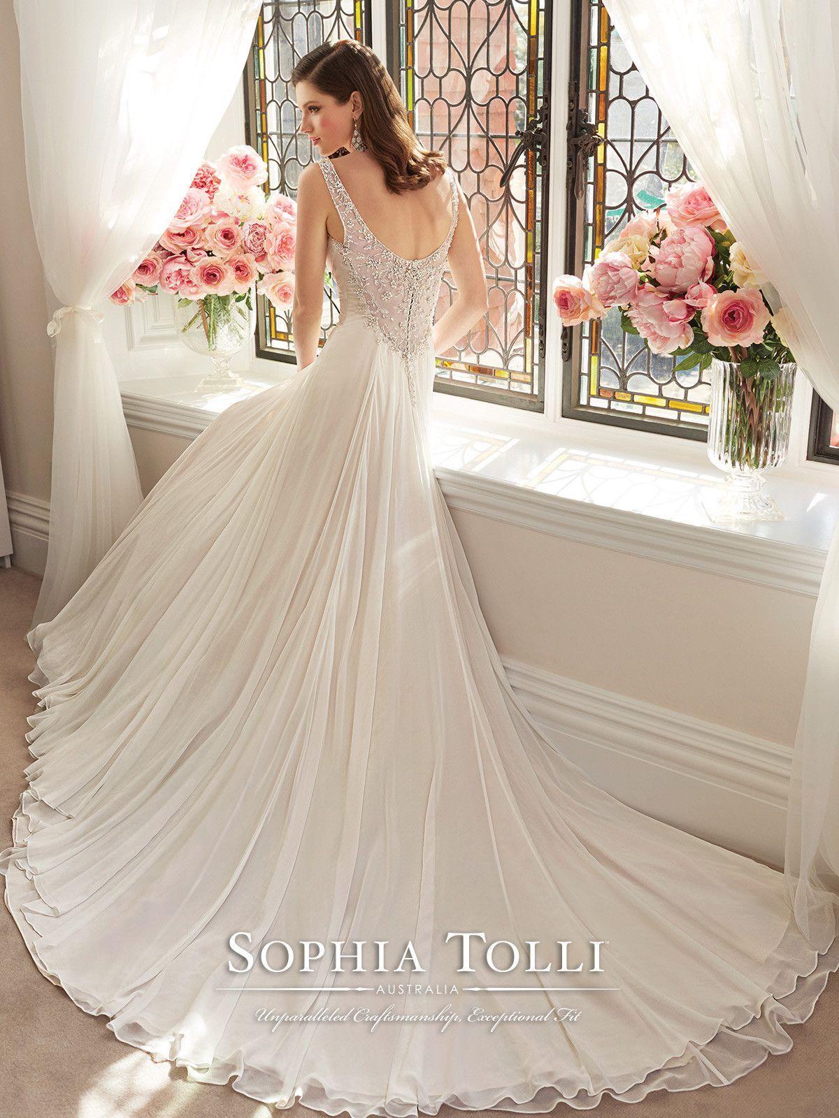 Splendid Beading Court Train Chiffon Sleeveless Straps A Line Vintage Wedding Dresses Glasgow Online Sale