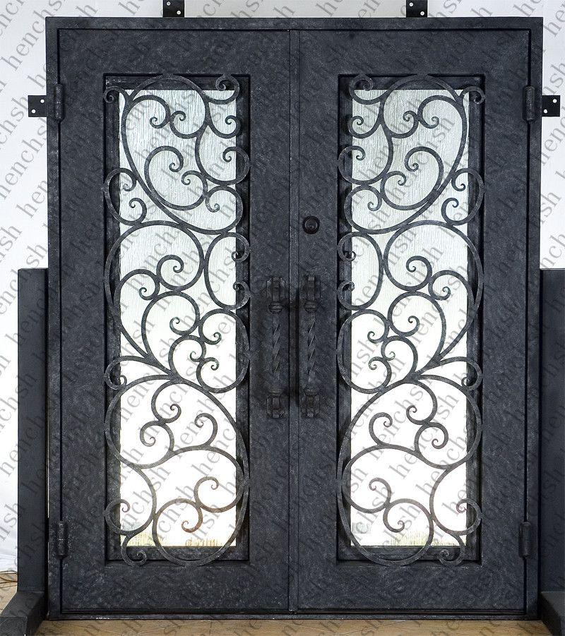 Iron Doors 72 X96 Wrought Iron Doors 8mm Clear Glass 12 Gauge Steel 8mm Rain Glass Fixed Shipping Usa Home Address 3 Iron Doors Iron Entry Doors Rain Glass