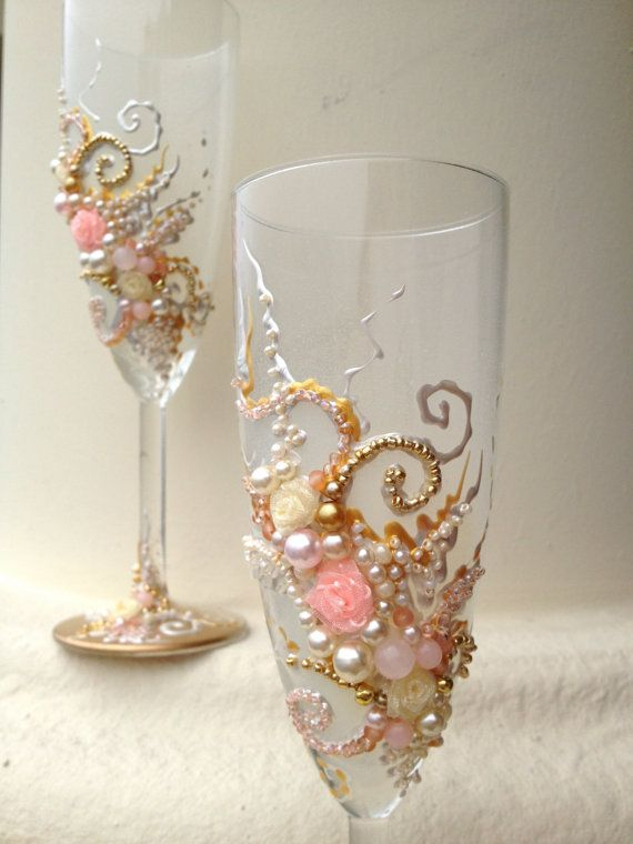 Beautiful Wedding Champagne Gles In Blush Pink Gold And Ivory Elegant Toasting Flutes With