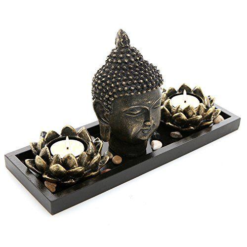 Mygift Buddha Head Sculpture Zen Garden Set W Lotus Tealight Candle Holders Wooden Display Tray Black Tealight Candle Holders Tea Light Candles Tea Lights