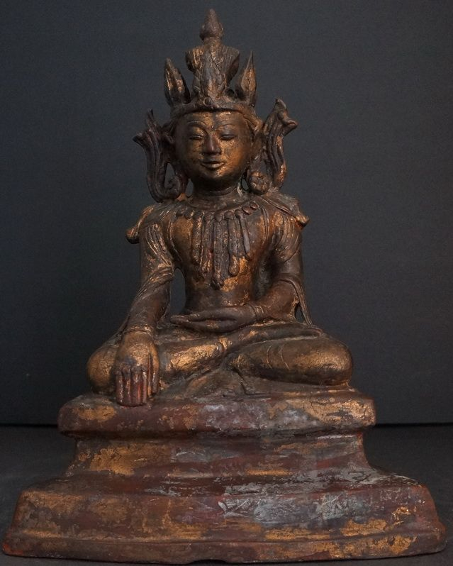 "18th - 19th Century Burmese Mrauk-U Period Jambhupatti Bronze Buddha Statue – Was once gilded still some traces of gild remaining  ""Original article found here Read More http://goldentriangleantiques.com/burmese-mrauk-u-period-jambhupatti-bronze-buddha-statue"